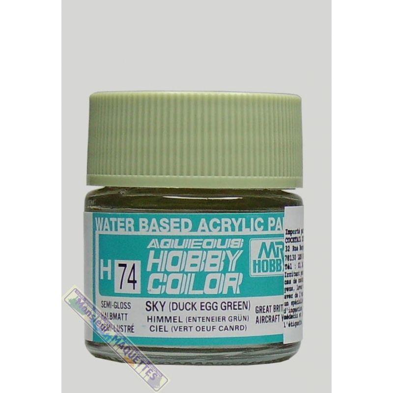Peinture acrylique h74 vert oeuf de canard satine 10ml for Peinture vert canard