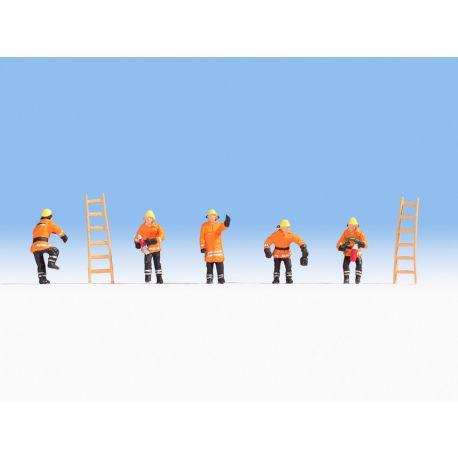 Pompiers (en ciré orange)