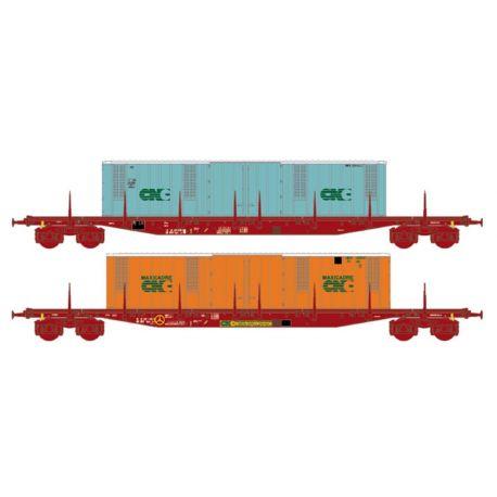 2 wagons Sgss/MK70 6 16 porte containers CNC vert et orange