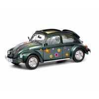 Voiture VW Coccinelle toit ouvert déco fleures verte