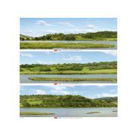 Fond décor (paysage vallée fluviale) en 3 parties