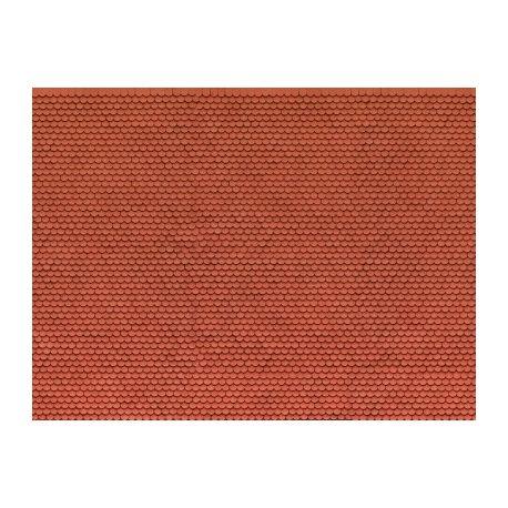 Plaque carton 3D tuiles alsaciennes rouges