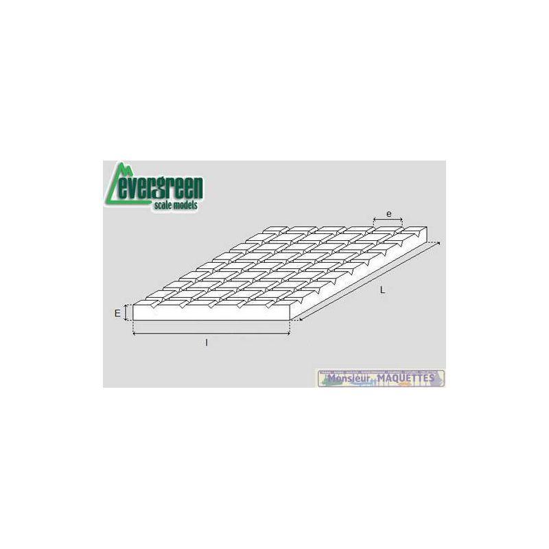 plaque plastique 292x152x1 striee carre 6 3mm ev4505. Black Bedroom Furniture Sets. Home Design Ideas